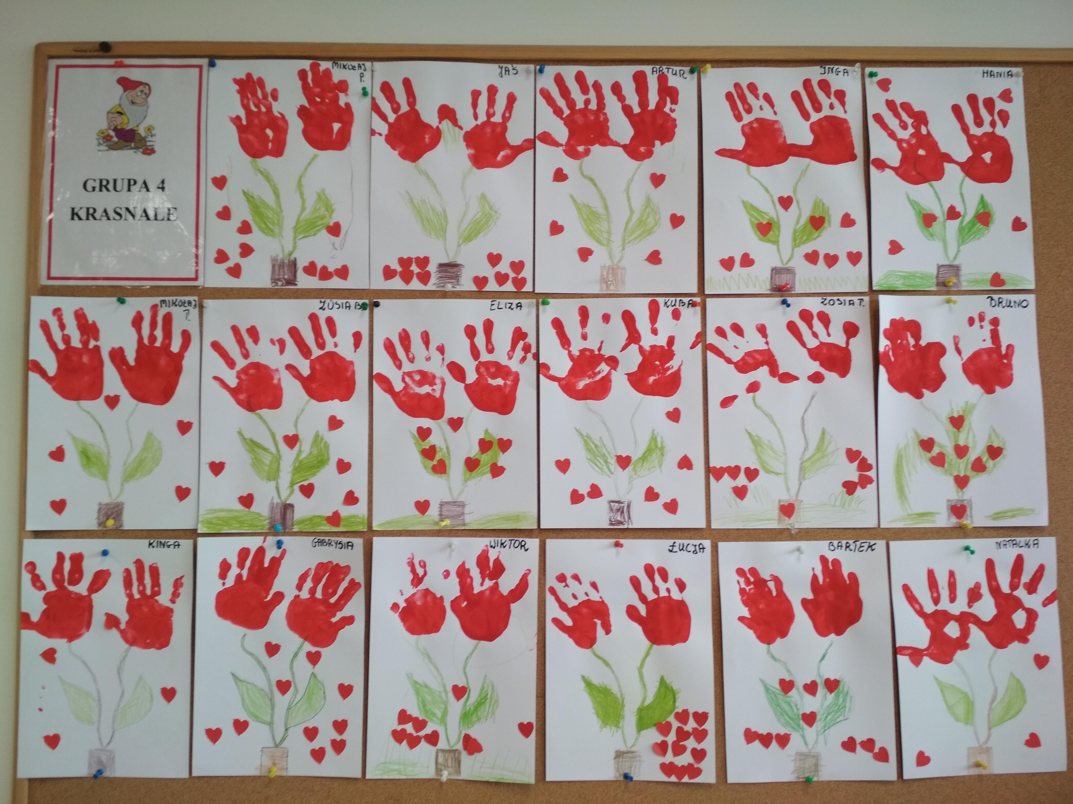 """Praca plastyczna – """" Kwiaty dla babci i dziadka"""""""